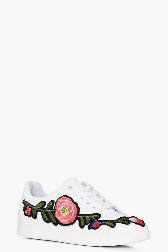 Charlotte Floral Embroidered Trainer