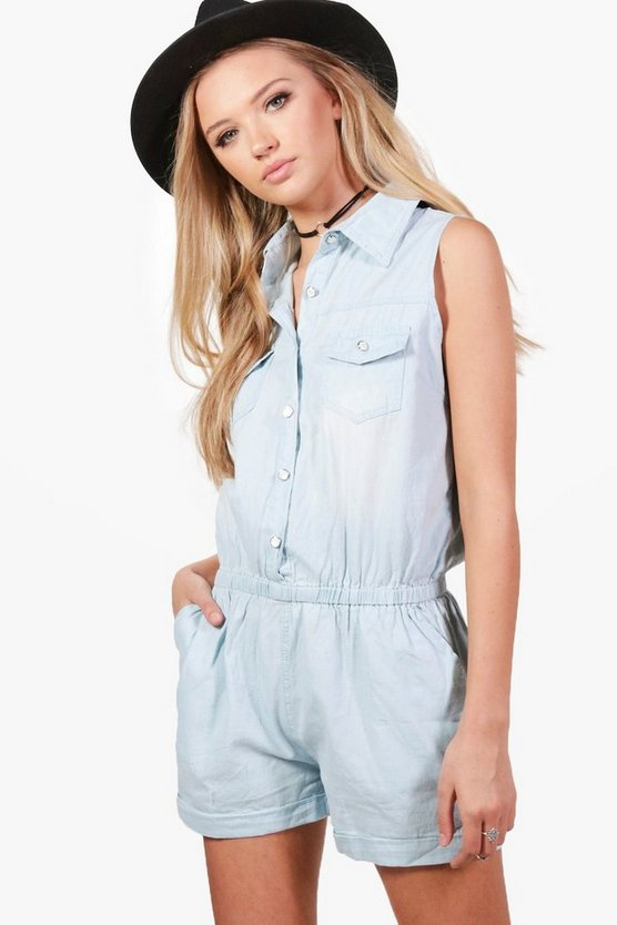 Ruth Button Through Denim Playsuit