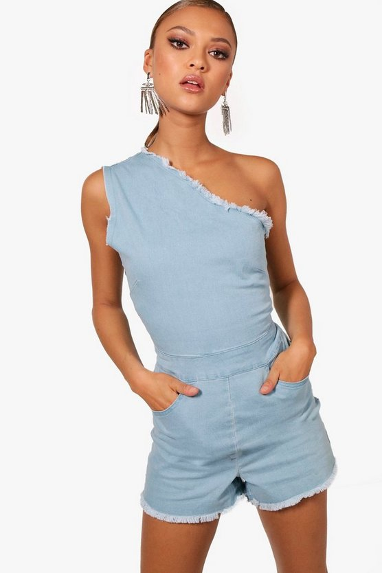 Bella One Shoulder Denim Playsuit