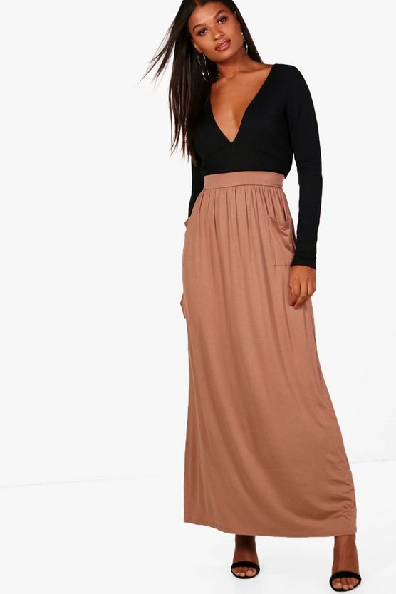 Lizbeth Pocket Front Jersey Maxi Skirt