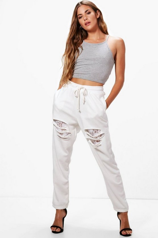 Slashed Front Lace Insert Joggers