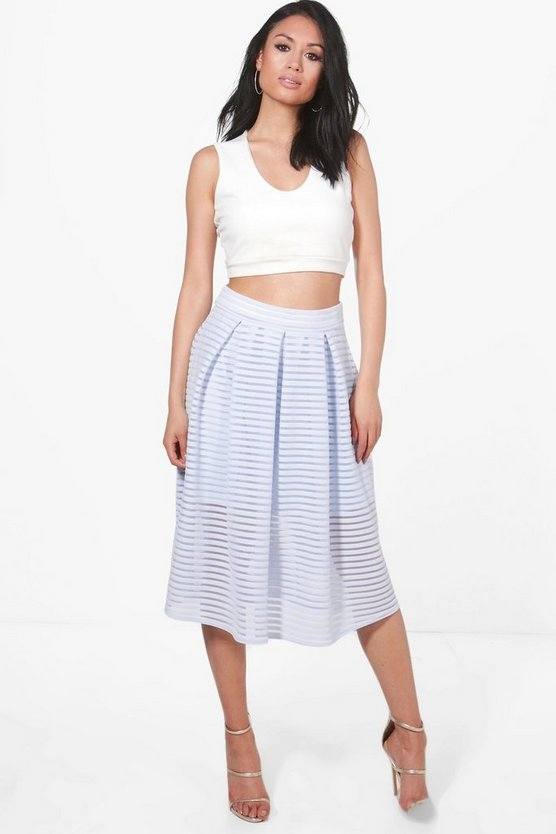 Aura Sheer Mesh Stripe Box Pleat Skater Skirt