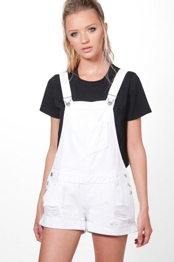 Robin Distressed Denim Dungaree Shorts