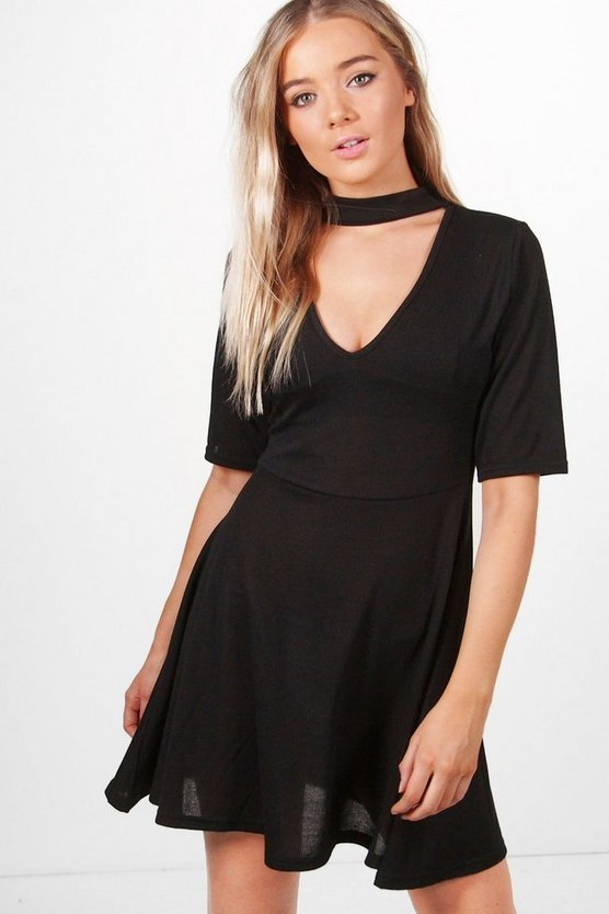 Bella Choker Knitted Skater Dress