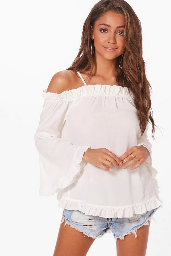 Annabel Ruffle Cold Shoulder Top