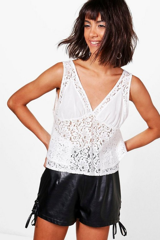 Lace Panel Woven Swing Cami