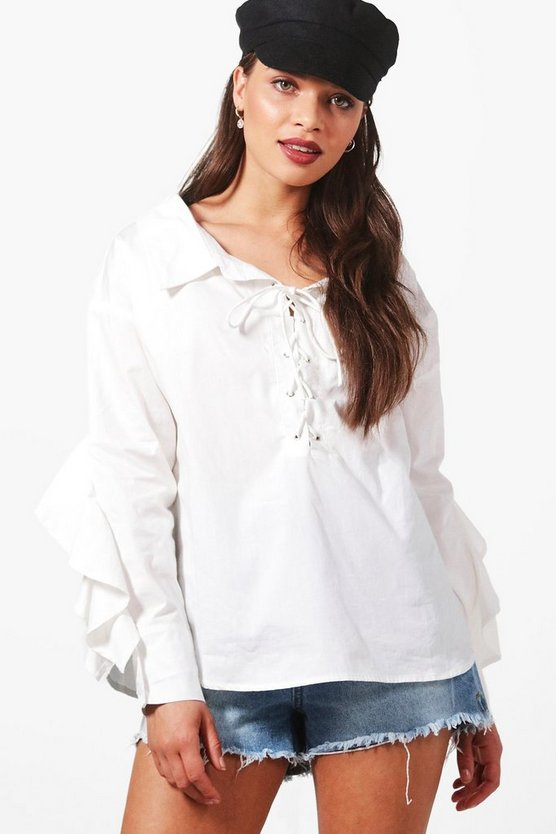 Poppy Lace Up Ruffle Sleeve Shirt