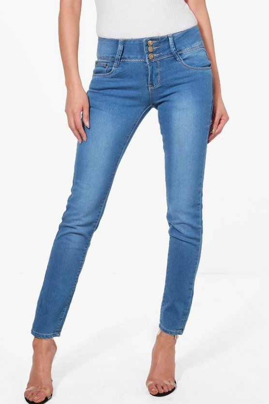 Jilly 3 Button High Rise Skinny Jeans