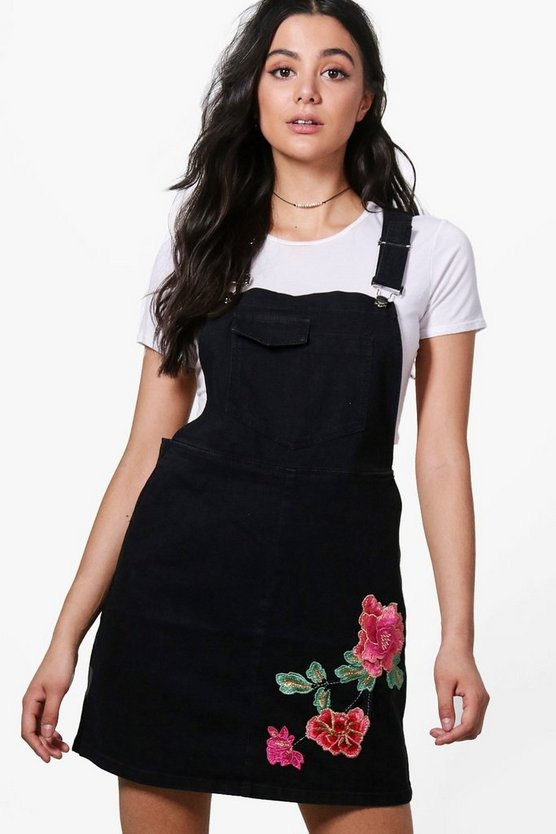 Riva Embroidered Denim Pinafore Dress