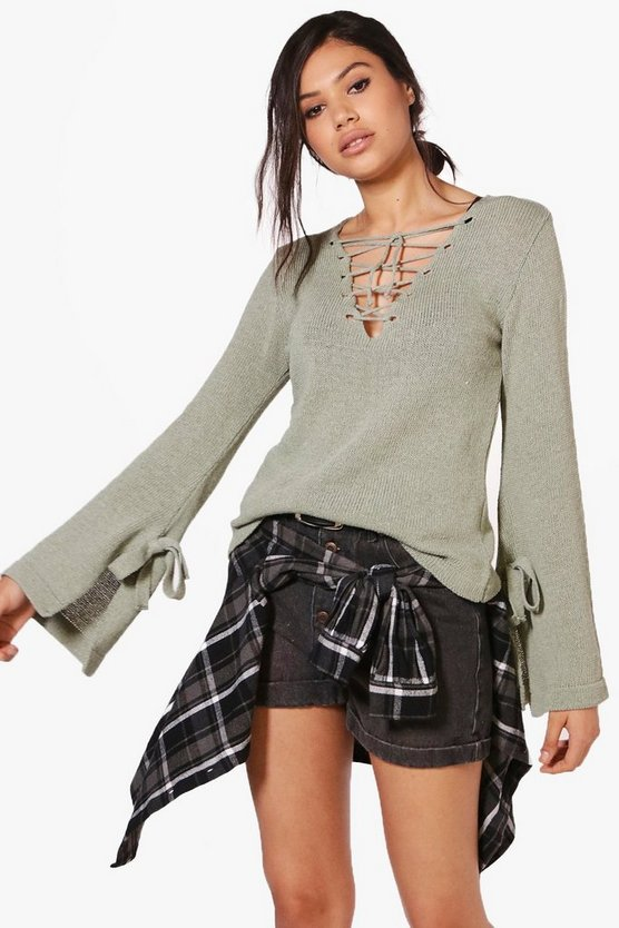 Charlotte Lace Up & Tie Sleeve Jumper