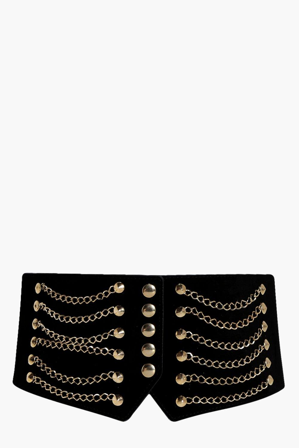 Chain And Stud Waist Belt - black - Eliza Chain An