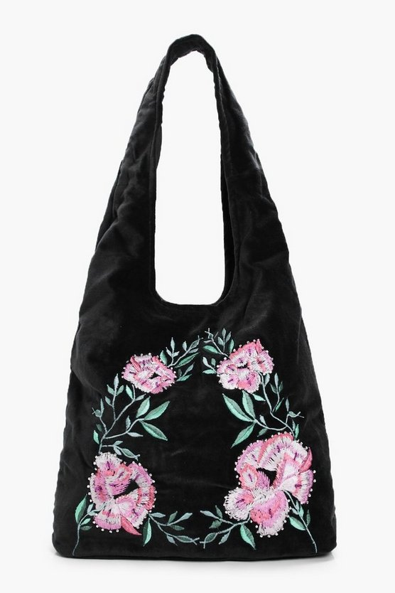Matilda Velvet Embroidered Hobo Bag
