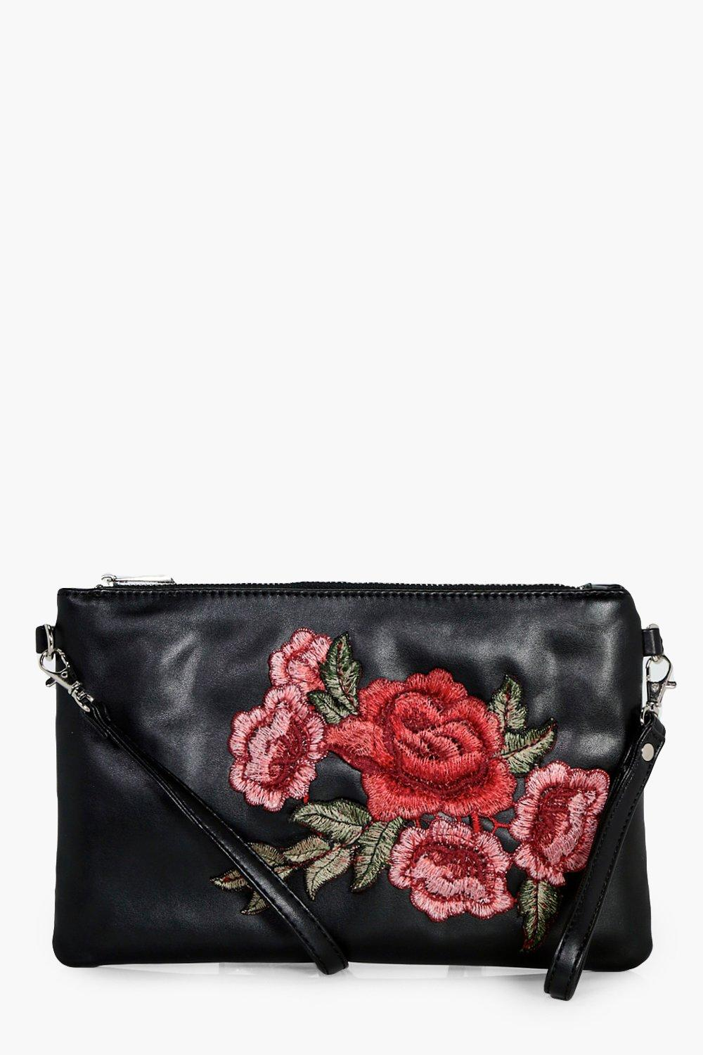 Floral Embroidered Cross Body Bag - black - Lacey