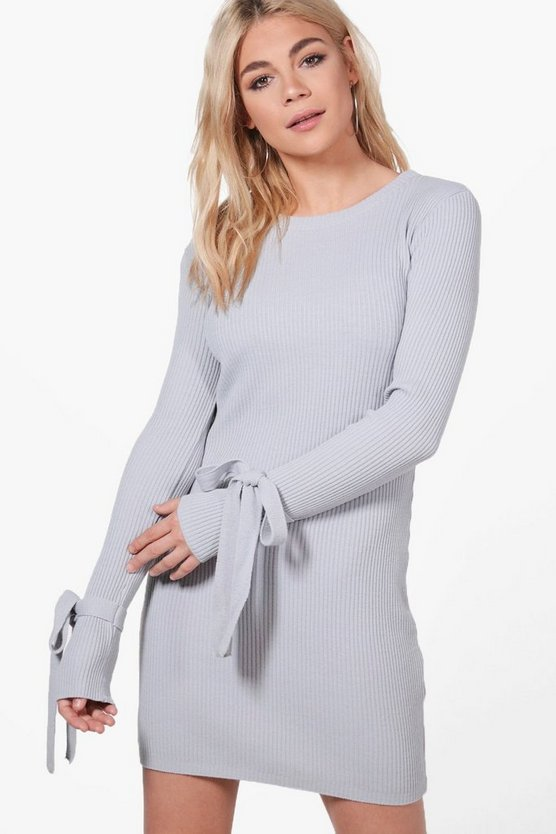 Ria Tie Cuff Rib Knit Bodycon Dress
