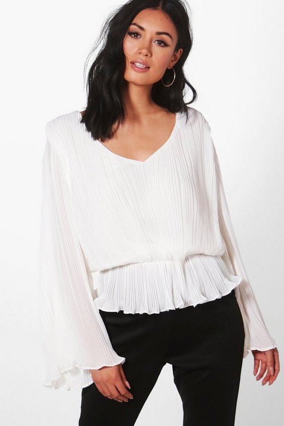 Pleated Plunge Peplum Top