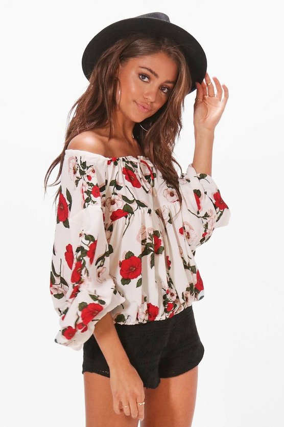 Alexis Floral Rouched Sleeve Bardot