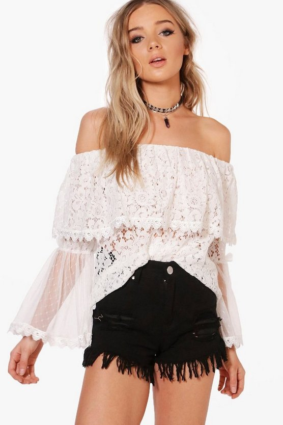 Gracie Lace & Mesh Tiered Sleeve Bardot