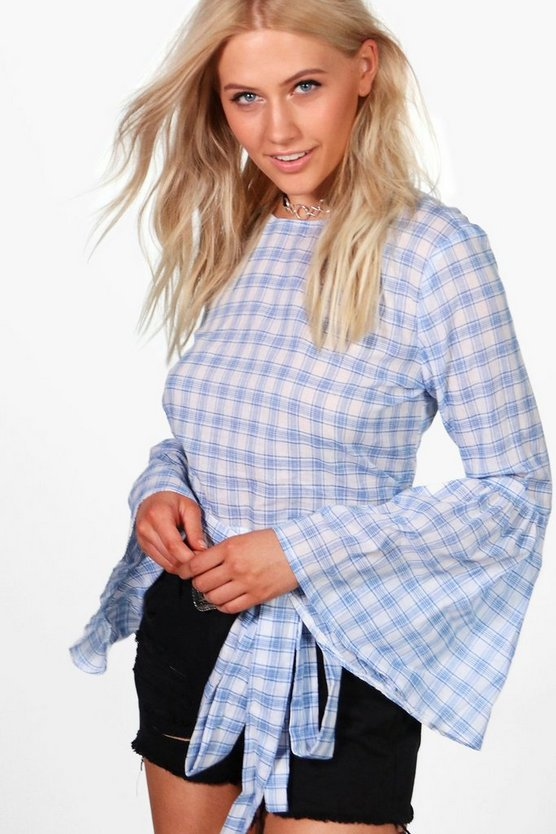 Millie Check Tie Front Flare Sleeve Top