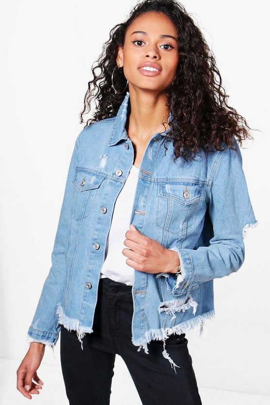Heavy Distressed Oversize Denim Jacket