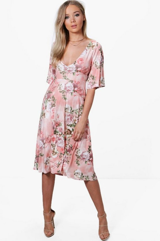 Rachel Floral Angel Sleeve Midi Skater Dress