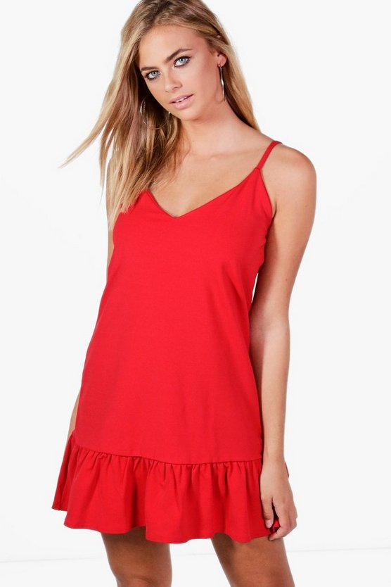 Grace Strappy Frill Hem Shift Dress