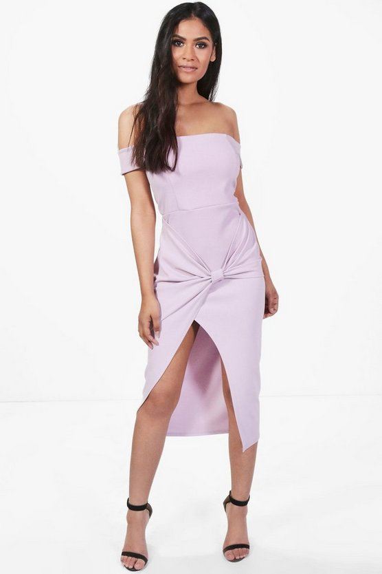 Bow Front Warp Midi Skater Dress
