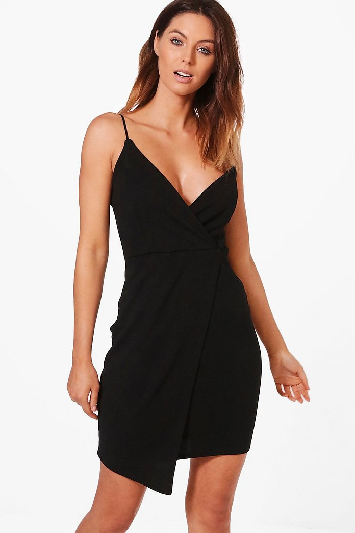 Julia One Shoulder Wrap Bodycon Dress