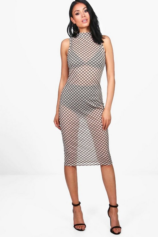 Lola Mesh Grid Print High Neck Midi Dress