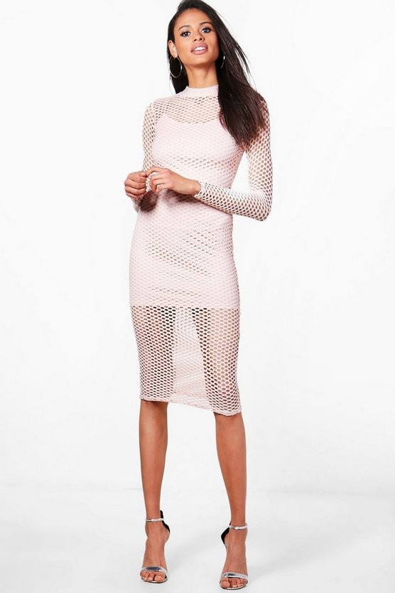 Hanna Fish Neck Mesh High Neck Midi Dress