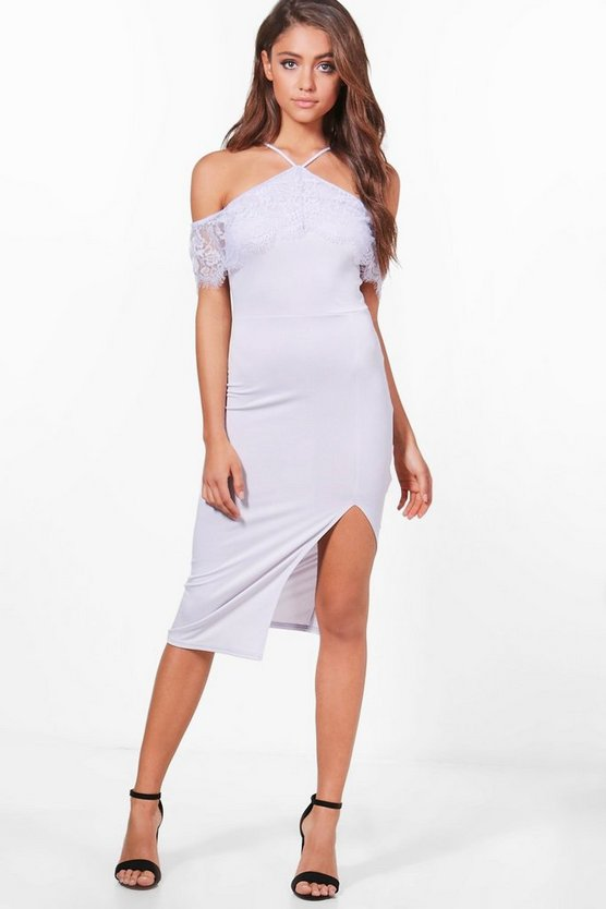 Emily Lace Off Shoulder Detail Midi Dress