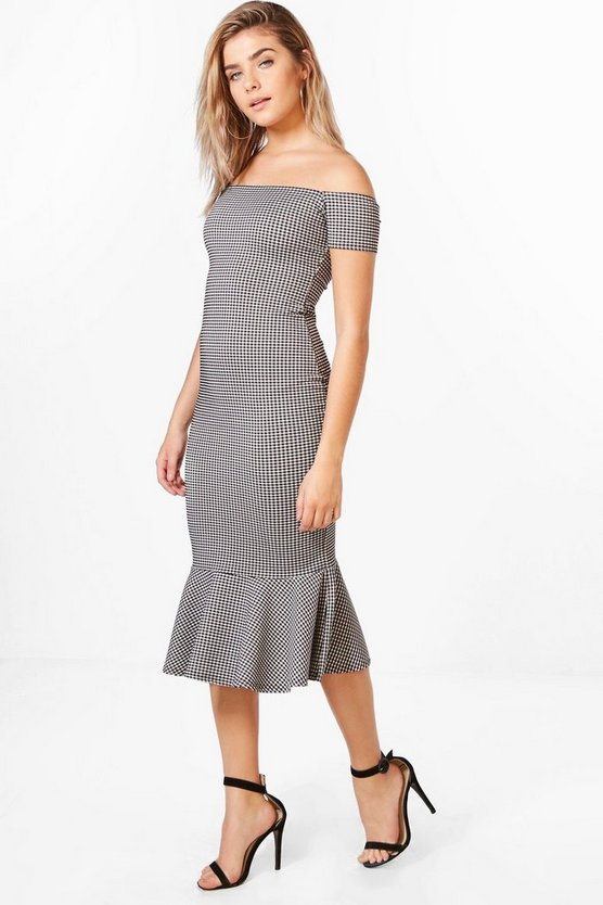Krissy Flute Hem Gingham Midi Dress