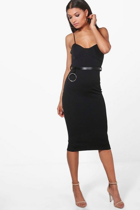 Tina Belted O-Ring Seam Detail Midi Dress