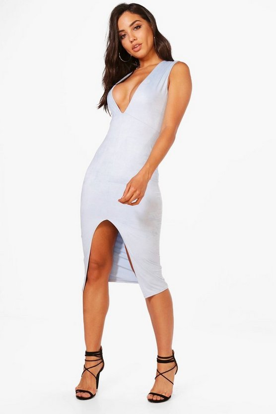 Ella Suedette Plunge Split Midi Dress
