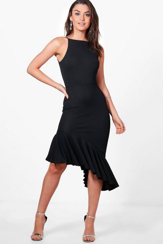 Isobel Asymetric Peplum Hem Midi Dress