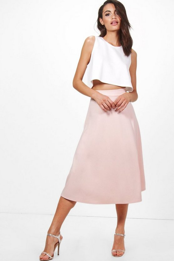 Laura Contrast Shell Crop & Midi Skirt Co-Ord Set