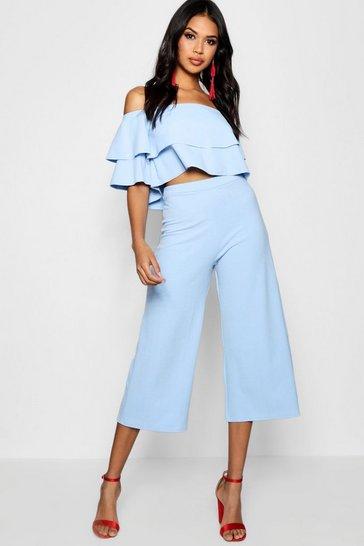 Blue Double Bandeau Top & Culotte Co-Ord Set