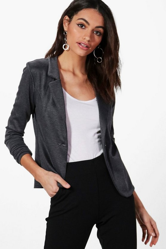 Harriet Gathered Sleeve Button Ponte Blazer