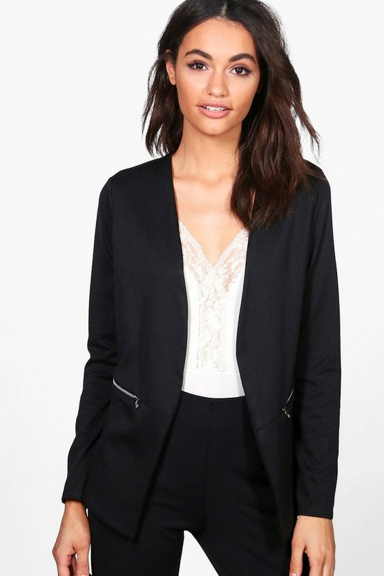 Kerry Zip Pocket Collarless Blazer