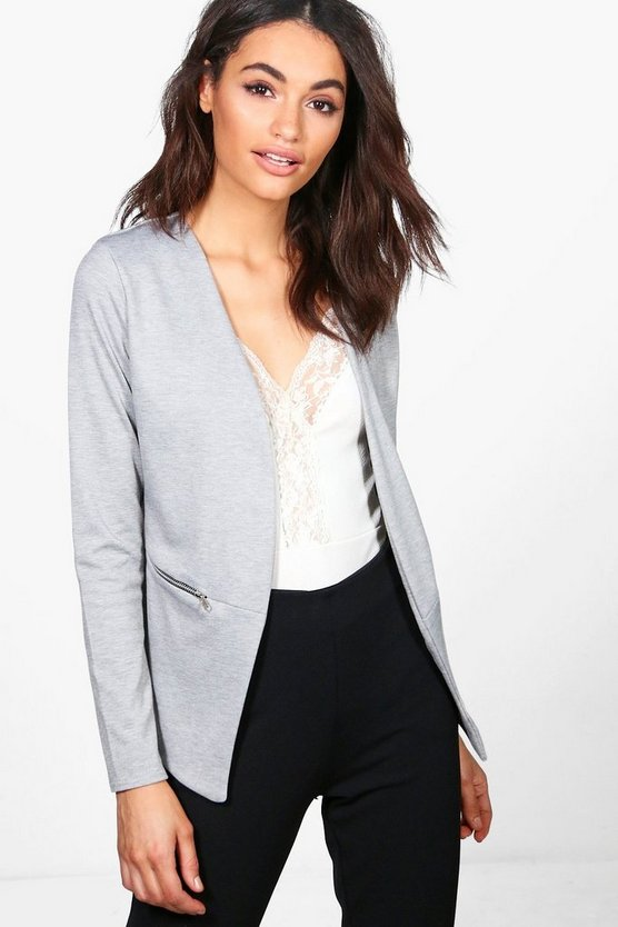 Zip Pocket Collarless Blazer
