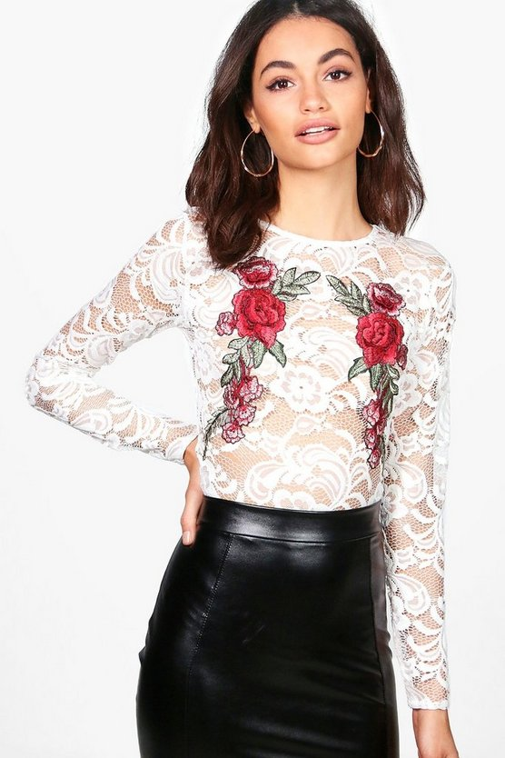 Ruby Lace Embroidered Long Sleeve Crop Top