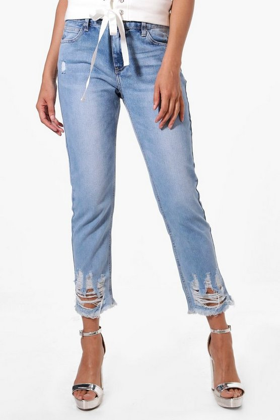 Faye Destroyed Hem Low Rise Jeans