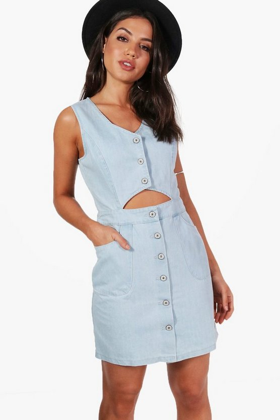 Mia Button Cut Out Denim Dress