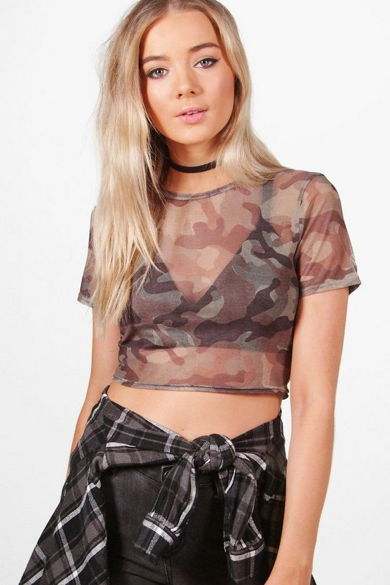 Mia Mesh Camo Crop Top