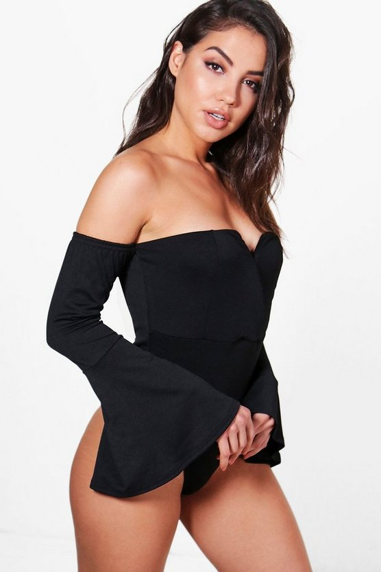 Niamh Wrap Front Flare Sleeve Bodysuit