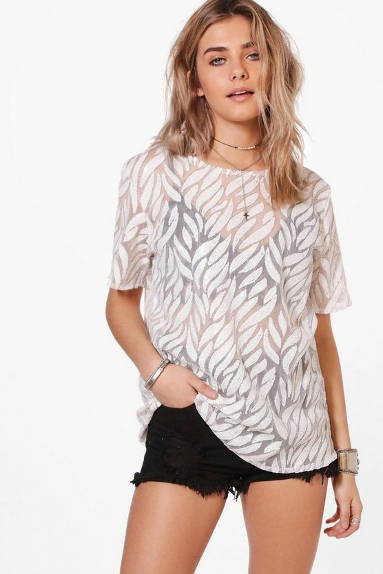 Eva Sequin Oversized Mesh T-Shirt