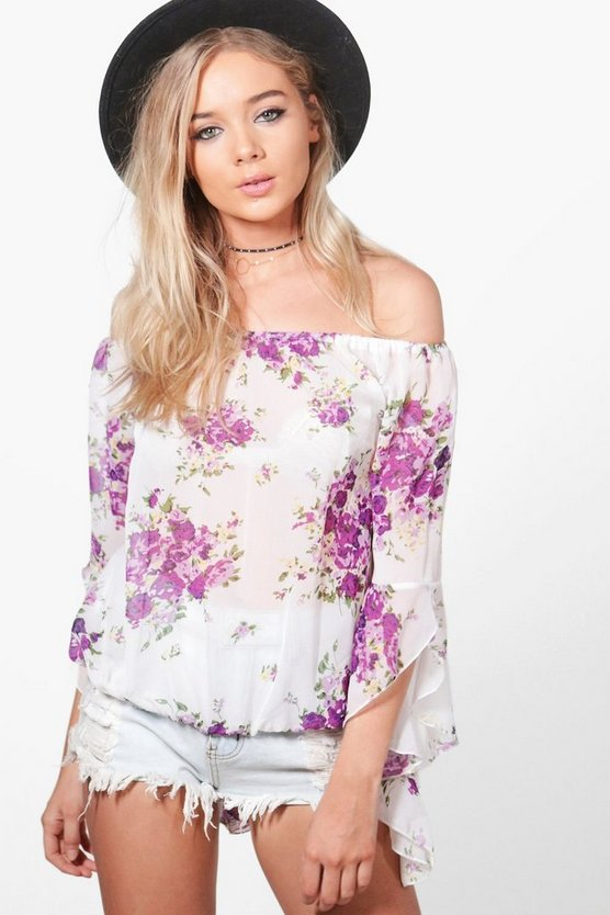Ella Printed Frill Off The Shoulder Top