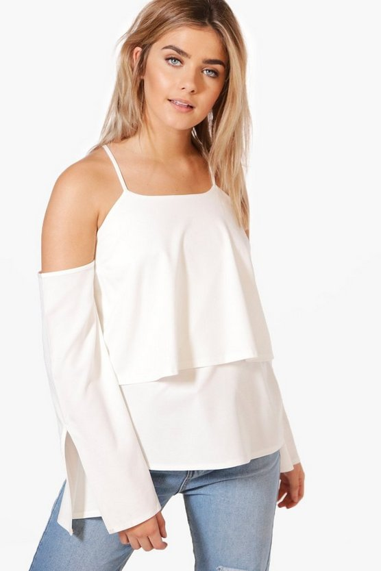 Ava Cold Shoulder Split Sleeve Woven Top