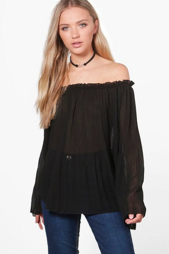 Katie Pleated Flare Sleeve Bardot