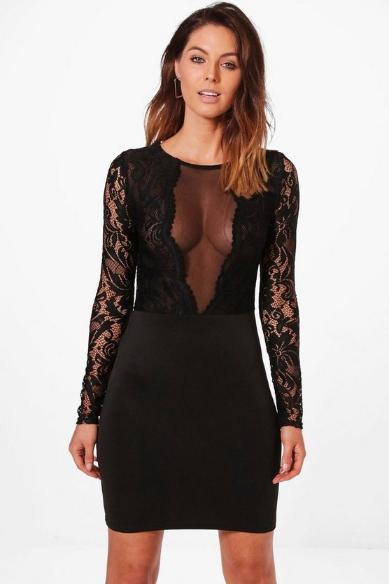 Tanya Lace and Mesh Panelled Bodycon Dress
