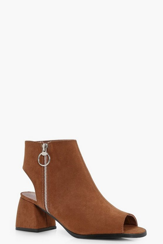Holly Ring Detail Peeptoe Shoe Boots